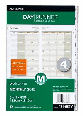 Day Runner Monthly Planner Refill 2015, 5.5 x 8.5 Inch Page Size 481-685Y