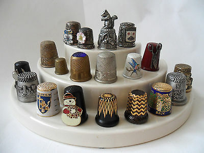 Collection of Metal Thimbles Unknown Vintage  Figures - Cloisonné - Machined VGC