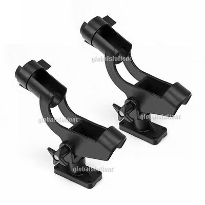 2x Fishing Rod Holder Boat Mount Rack Kayak Adjustable Side Tackle Marine Black