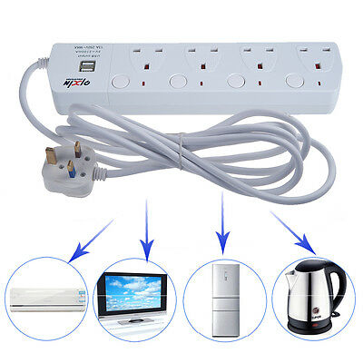 New 2 USB 4 Way Outlet Power Extension 3M Cable UK Socket Main Lead With Switch