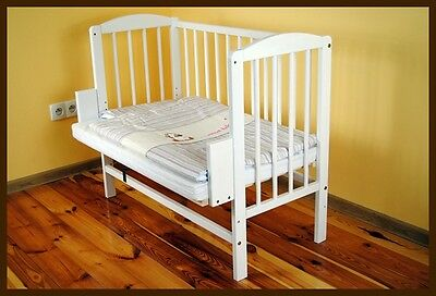 Co Sleeper Bedside Cot WHITE 3 in 1 bed crib baby wooden UK STOCK convertible
