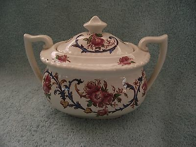 Royal Cauldon - Double Handled Lidded Pot - Premier Rose Pattern - c1930-50