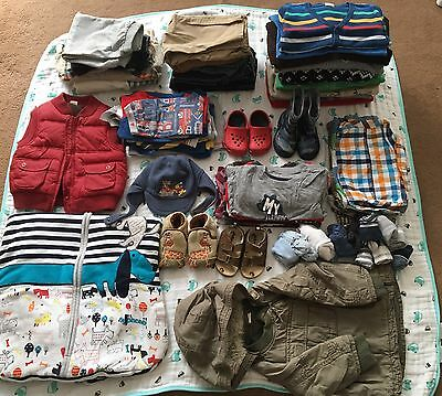 Huge Bundle Of Boys Clothes Shoes Sleeping Bag Etc. 12-18 Months