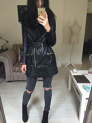 River Island Black Fur Leather Coat Small 8 10