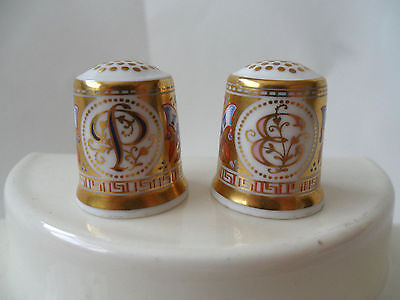 2 Beautiful Royal Crown Derby Bone China Thimbles - 24k Gold Plated Excellent