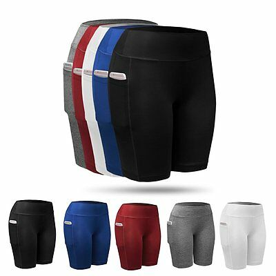Women Compression Sports Yoga Fitness Stretch Shorts Running Gym Short Pants US