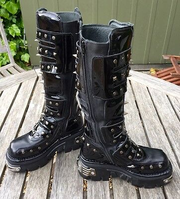 New Rock Boots Reactor Spikes Knee High M796-s1