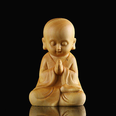 Sale  - 6.7*4.3*3.5 CM Hand Carved Boxwood Carving : Little Monk Pray