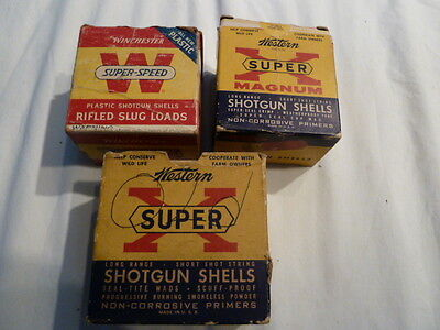 3 Shot Shell Boxes Winchester Super Speed 20 ga & 2 Super X 20 & 12 ga Empty