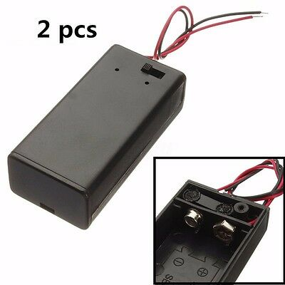 2pcs 9V Enclosed Battery Box Case Holder With ON/OFF Power Switch Wires Leads