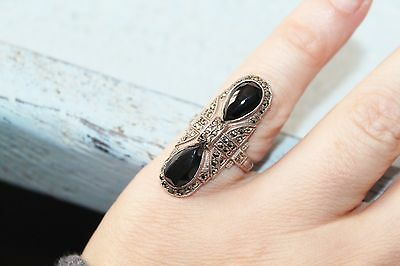 ART DECO vintage STERLING silver Onyx Marcasite STATEMENT pinky ring sz 5