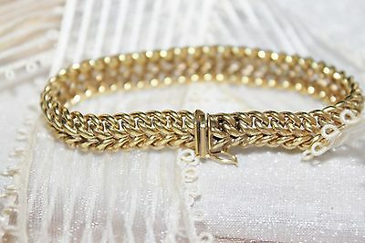 SIGNED 12k Rolled Gold Victorian VINTAGE Wheat Chain Link BRACELET