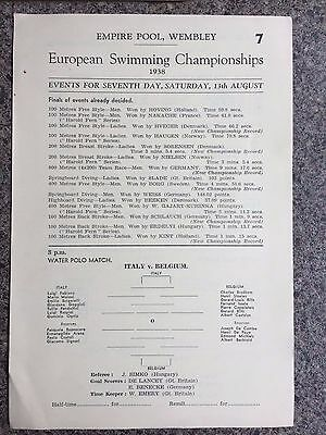 Swimming programme 1938 includes water polo and diving