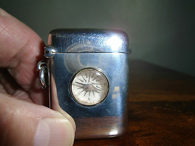 Superb Solid Silver Vesta Case  inset with a Compass 1901 .