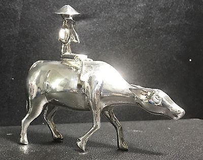 Rare Antique Chinese Sterling Silver Buffalo Boy Figure