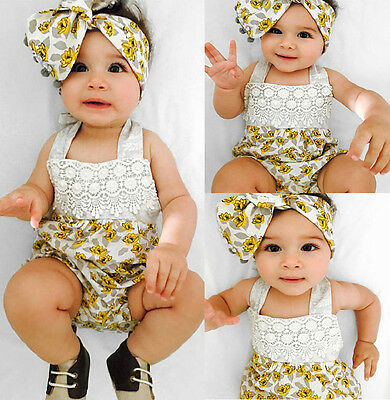 USA Newborn Infant Baby Girl Lace Floral Romper Jumpsuit Outfits Sunsuit Clothes