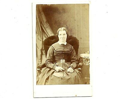 Vintage CDV Photo Lady With Hands In Lap Stratford Ontario Antique Photograph