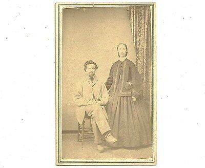 Antique CDV Photo Wife In Hoop Dress And Husband Caledonia Ontario Photograph
