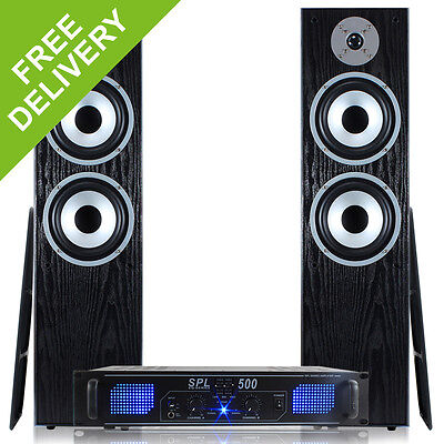 Skytronic Stereo Amplifier 2x Hifi Speakers 10m Cable Package Brand New 500W