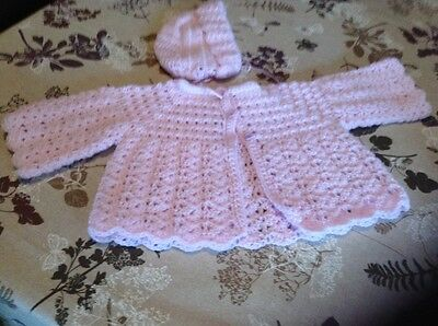 A new hand crochet baby girl cardigan and hat set in lilac dk yarn 0 - 3 months