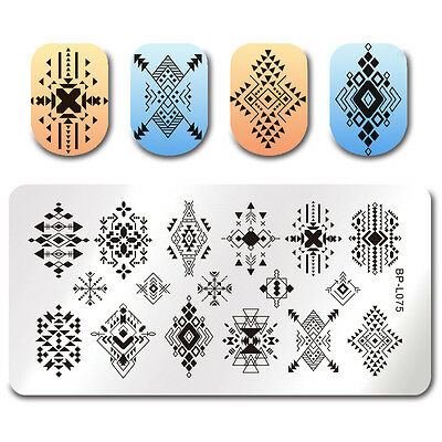 Nail Art Stamping Plate  Rhombus Image Stamp Template Decor BORN PRETTY