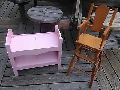 Lovely Vintage Pair Dolls Furniture Wooden Dolls Painted Bunk Beds + Highchair