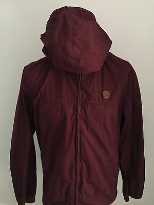 PRETTY GREEN Men's BURGUNDY Jacket Coat HOODED Size LARGE