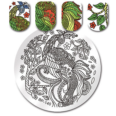 Nail Art Stamping Plate Peacock Flower Image Stamp Template Decor BORN PRETTY