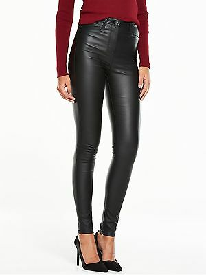 Ladies Black Addison High Waisted Super Skinny Coated Jeans V by VERY - sz 8