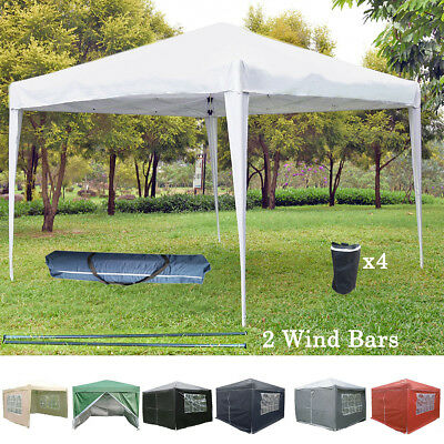 Fully Waterproof Pop-Up Gazebo 3x3m Garden Gazebo 2 Windbars 4 Leg Weight Bags