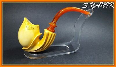 S.YANIK MEERSCHAUM Pipe FREEHAND BEST QUALITY FITTED CASE