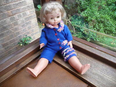 vintage  famosa  23  inch  doll  in  hand  knitted  cloths
