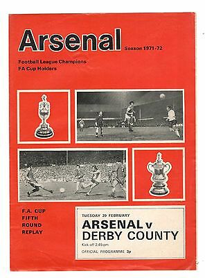 Arsenal v Derby County 1971 - 1972  FA Cup 5th round replay 4-pager