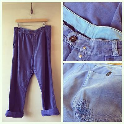 "True Vintage French Distressed Bleu de Travail Chore Workwear Trousers 34"" (04)"