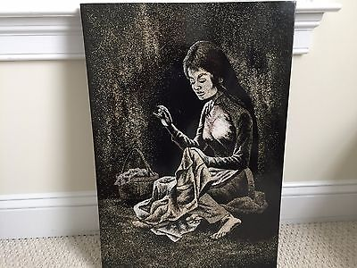 """Vietnamese Lacquer Crushed Eggshells """"Woman Sewing"""" 16l X 23.5h Painting"""
