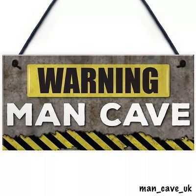 Funny Man Cave Warning Sign Hanging Plaque Novelty Gift Games Room  Home Bar