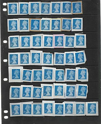 GREAT BRITAIN  50 x 2nd CLASS SECURITY UNFRANKED   ALL BLUE REF 80 ON PAPER