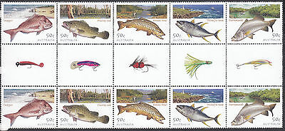 2003 FISHING IN AUSTRALIA GUTTER STRIP OF 10 x 50c STAMPS - *MNH*