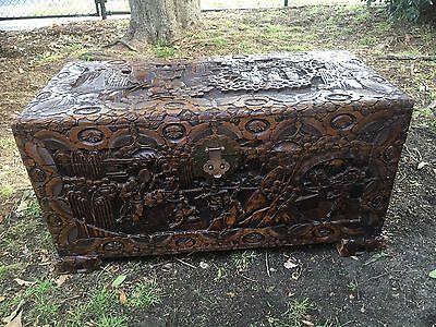 Antique Camphorwood Chest With Carved Detail