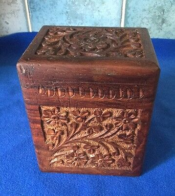 Vintage Hand Carved Anglo Indian Wooden Box - Playing Card Holder - Treen