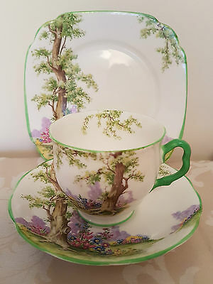 Vintage Royal Albert Greenwood Tree Hampton Shape Trio Cup Saucer Tea Plate