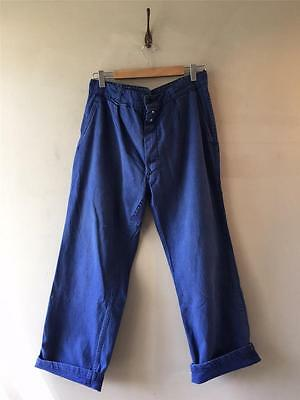 "True Vintage French Blue Bleu de Travail Chore Workwear Trousers 32"" 33"""