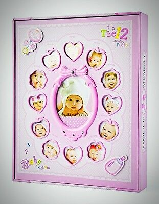 FaCraft Baby Photo Album Girls Holds 200 4x6 Photos 'My First Year' Box Gifts