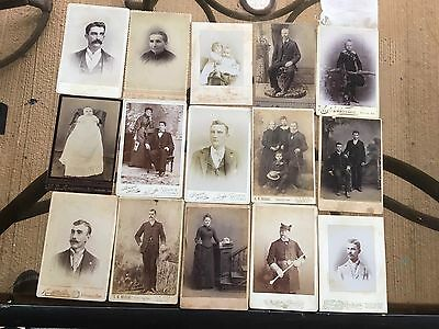 1890s 1900s 15 VINTAGE LOT OF CABINET PHOTOS. SOLDIER,KIDS AND MORE NICE