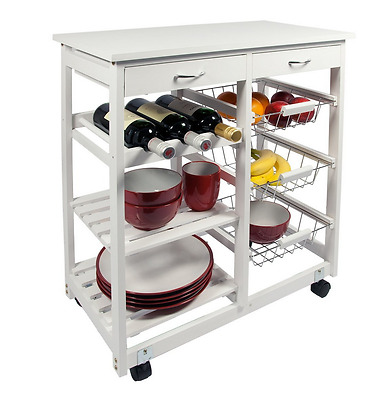 Kitchen Trolley Cart Drawers Cutting Wine Storage Shelves Rack Solid Wood White