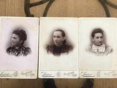 1890 1900s 3 VINTAGE LOT OF CABINET PHOTOS. INDIAN WOMAN MOTHER AND 2 Daughters?