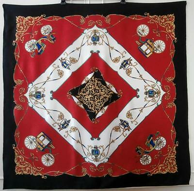 Vintage 1980's Red, Black, Green & Gold Carriage & Scroll Print Heraldic Scarf