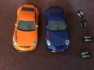 Scalextric Porsche 997 Drift Cars x 2 + Extra Contacts + Track And Accessories