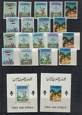 Yemen 1964 Scouts set perf and imperf and miniature sheets unmounted mint