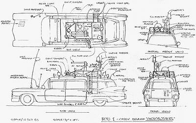 Ghostbusters RARE Ecto 1 Car Schematic Movie Prop - FREE UK POSTAGE